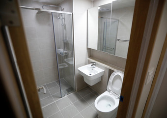 A bathroom in the Olympic Village is pictured in Pyeongchang