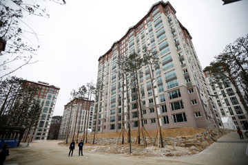 The Olympic Village is pictured during its completion ceremony in Pyeongchang