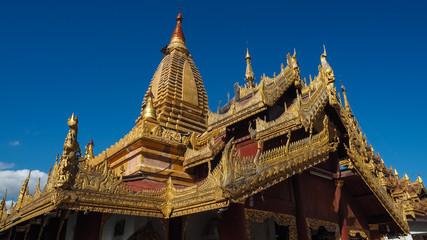 Bagan Myanmar,  Burmese people pray and worship at Shwezigon Paya one of Myanmar's most revered pagodas in Bagan Myanmar (Burma).