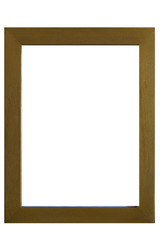 Gold wooden frame isolated on a white background