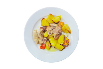 roast chicken with potatoes. isolated on white