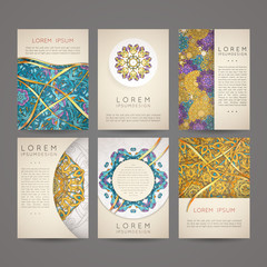 Design collection with mandala symbols. Set of business cards with circle ornament.