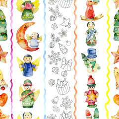 New Year, festive, Christmas, festival, citrus background with toys and tangerines. Watercolor. Illustration