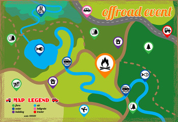 Offroad event and camping map icons set. Vector illustration.