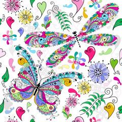 Seamless valentine pattern butterfly