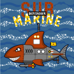 Submarine monster cartoon