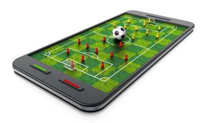 Smartphone with soccer field, football and pawns. 3D illustration