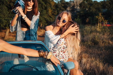 Girls have fun in the countryside