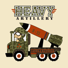 Soldier on Missile launcher truck cartoon