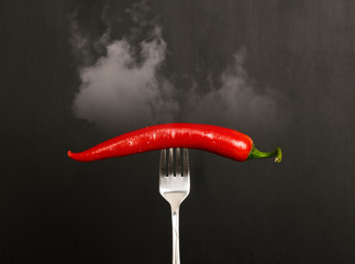Aluminium Prints Hot chili peppers Red Hot Chili Pepper on fork with smoke.