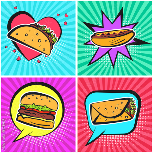 Bright Retro Comic Speech Bubbles With Cute Fastfood Symbols