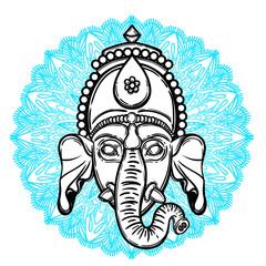 Vector illustration of Ganesha. Hindu god elephant Ganesha and flower mandala on the background. Lineart tattoo.
