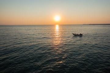 Fishing Netting Boat Oars Beach Ocean Dawn