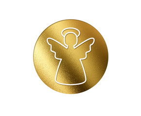 The isolated golden glitter Christmas angel flat icon
