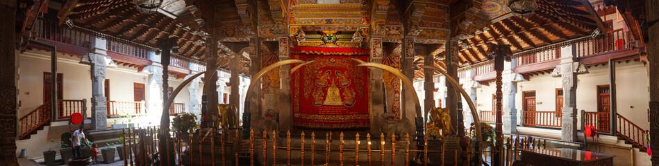 Kandy, Sri Lanka - 5 February 2017: Panoramic Interior of Temple of the Tooth Buddha in Kandy Sri Lanka