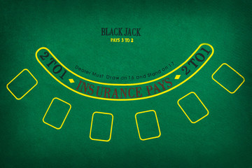 Black Jack gambling table. Flat lay
