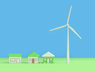 green nature energy house city town turbine blue background 3d rendering cartoon style