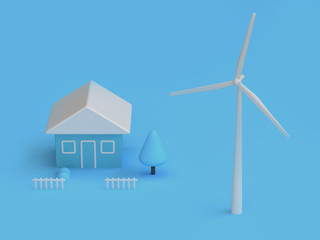 blue scene turbine and house-home nature energy concept 3d rendering