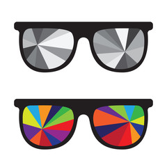 Sunglasses black and white and multicolored glasses isolated on white background