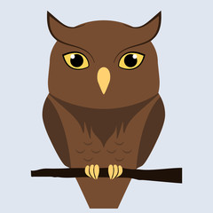 Cute brown owl sitting on a branch, isolated. Flat vector illustration.