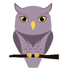 Cute owl sitting on a branch, isolated. Flat vector illustration.