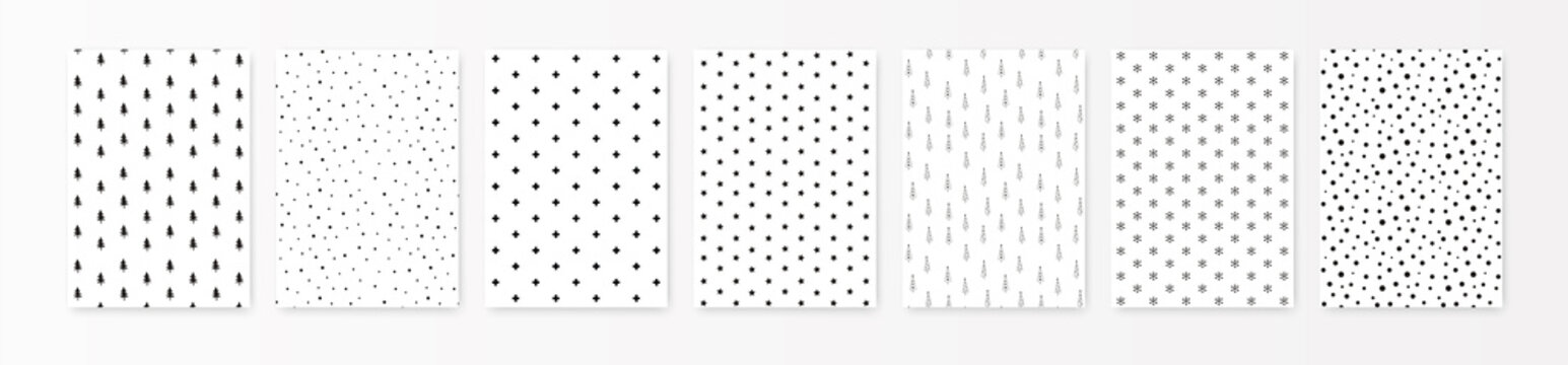 Christmas pattern set. Vector Background for print A4 format. Back holiday silhouette elements isolated on white. Simple minimalist style, scandinavian design for interior, post card, wrapping paper