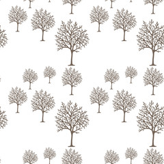 Winter trees (winter forest) seamless pattern. Endless natural background.
