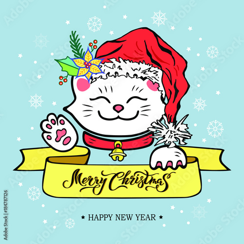 Funny Merry Christmas.Funny Merry Christmas Happy New Year Card And Hand Drawn