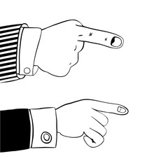 Human hand in office suit indicates something important. Pointing finger. Suitable as a element of your website design, advertising offer, info graphic, etc. Isolated on white. Vector illustration.