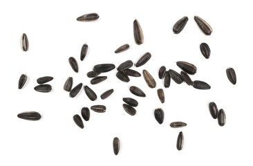 Sunflower seeds isolated on white background, top view