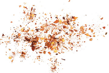 pile crushed red cayenne pepper, dried chili flakes and seeds isolated on white background, top view