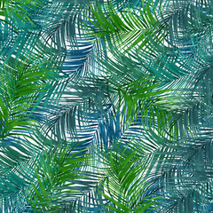 Tropical leafs texture repeat modern pattern