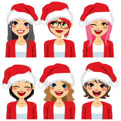 Set collection of different women avatar faces wearing Santa Claus hat