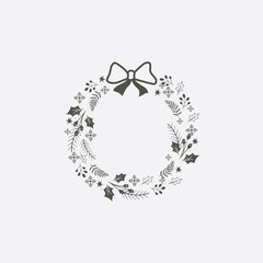 Christmas wreath icon in flat style isolated on grey background. For your design, logo. Vector illustration.