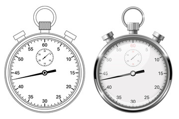 Stop watch. Flat drawing and 3d vector illustration isolated on white background