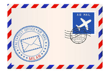 Envelope with blue postmark of Milan, Italy