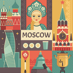 Moscow travel poster concept. Vector illustration with Russian culture icons, including portrait of Russian beauty in kokoshnik, Kremlin, Tsar Bell. Isolated on background.