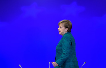 Germany's Chancellor Merkel attends a EU leaders summit in Brussels