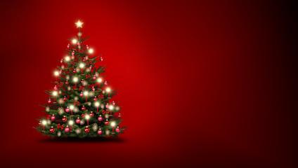 Christbaum vor Rot