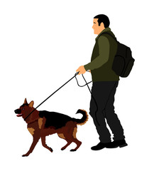 Owner keeps the dog on the leash. German Shepherd running, champion dog vector illustration isolated. Dog show exhibition. Finder detects explosives and drugs. Rescue activity dog for finding survive.