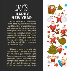 Happy New Year 2018 poster with Santa Clauses in traditional costume, sport suit and swimming trunks, snowman in hat, decorated Christmas tree