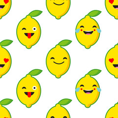 Seamless background with Emotions Lemon. Cute cartoon. Vector illustration. Textile rapport.
