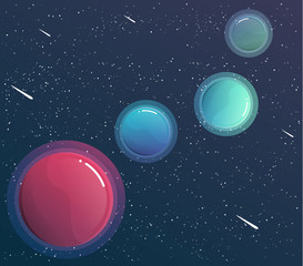 Space banner with planets design elements. flyer