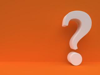 White Question mark against orange wall