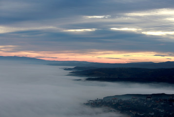 Fog blankets the city of Skopje