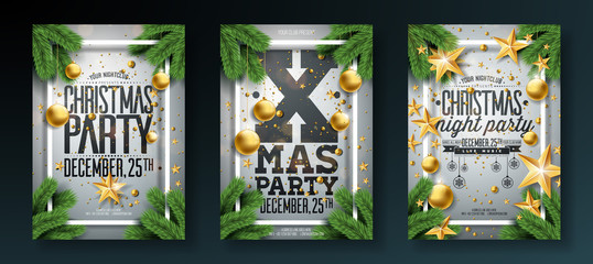 Vector Christmas Party Flyer Illustration with Holiday Typography Elements and Ornamental Ball, Pine Branch on White Background. Premium Celebration Poster Design Set.