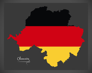 Chemnitz map with German national flag illustration