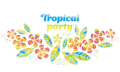 Tropical flowers and leaves simple and decorative vector element for surface design, invitation, header. Summer colorful cute style floral illustration on white background