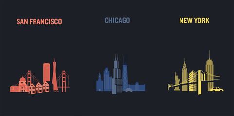 Skyline illustration of three american cities, San Francisco, Chicago and New York. Flat vector design.