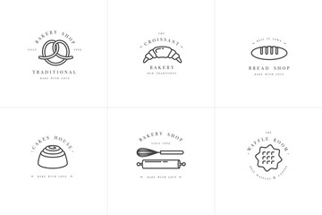 Set vector design templates and emblems - cupcake, donut and bake icon for bakery shop. Sweet shop.